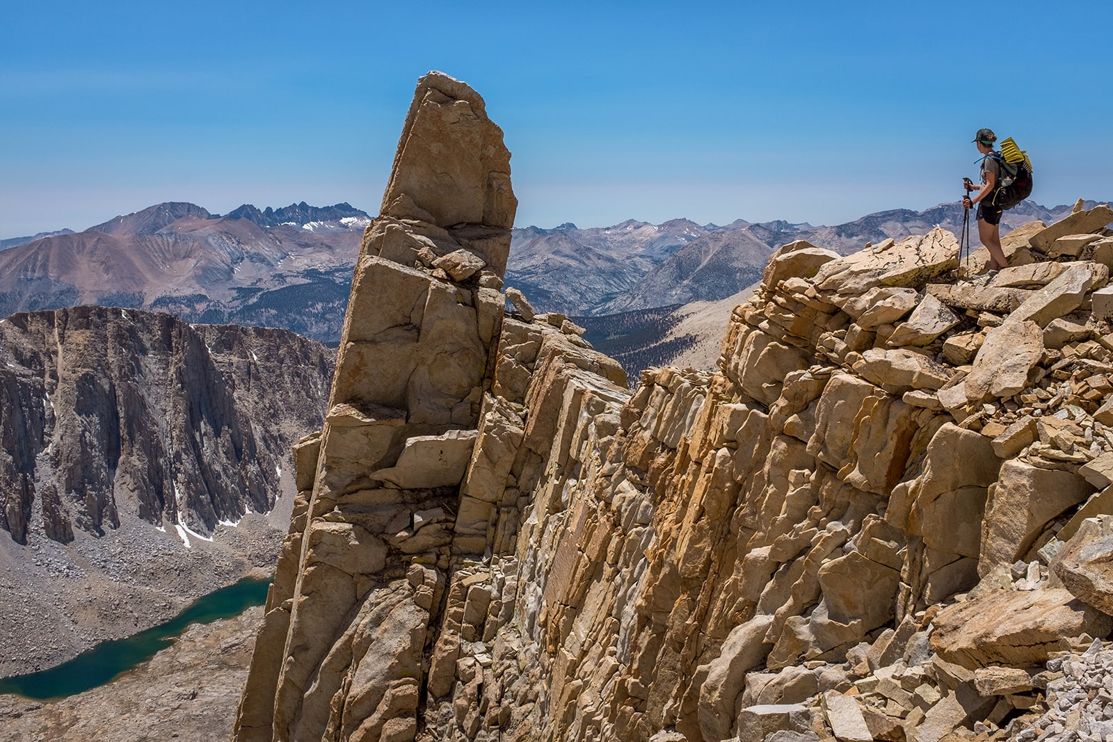 Taking a break during the climb towards the summit of Mt. Whitney.